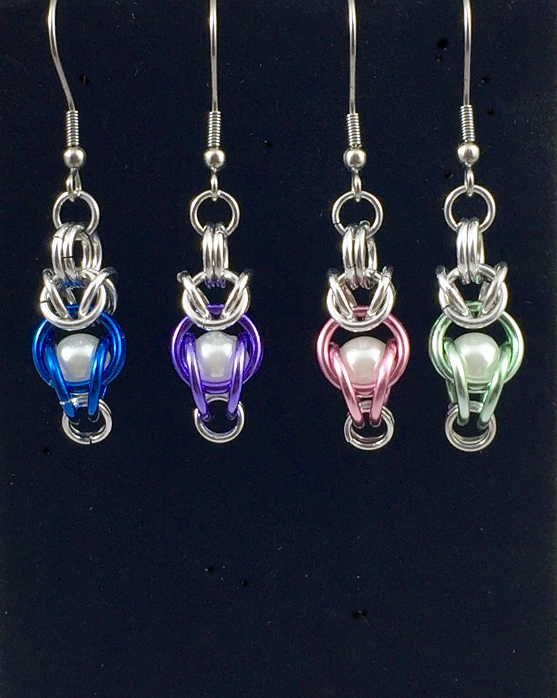 Drop earrings in brilliant blue, royal purple, seafoam green,coral pink with synthetic pearls