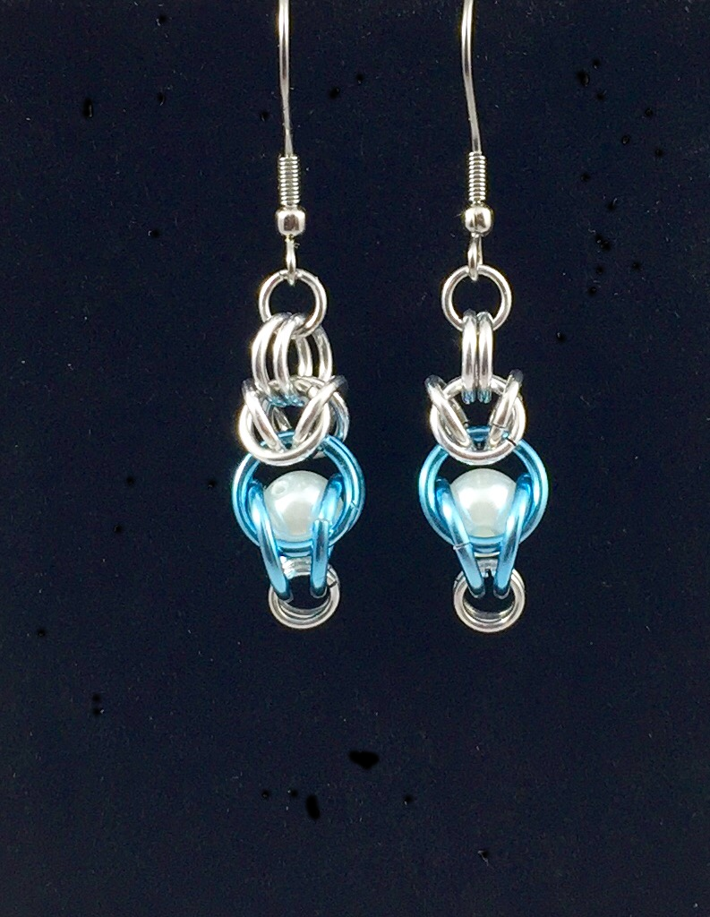 Pale blue drop earrings with synthetic pearl