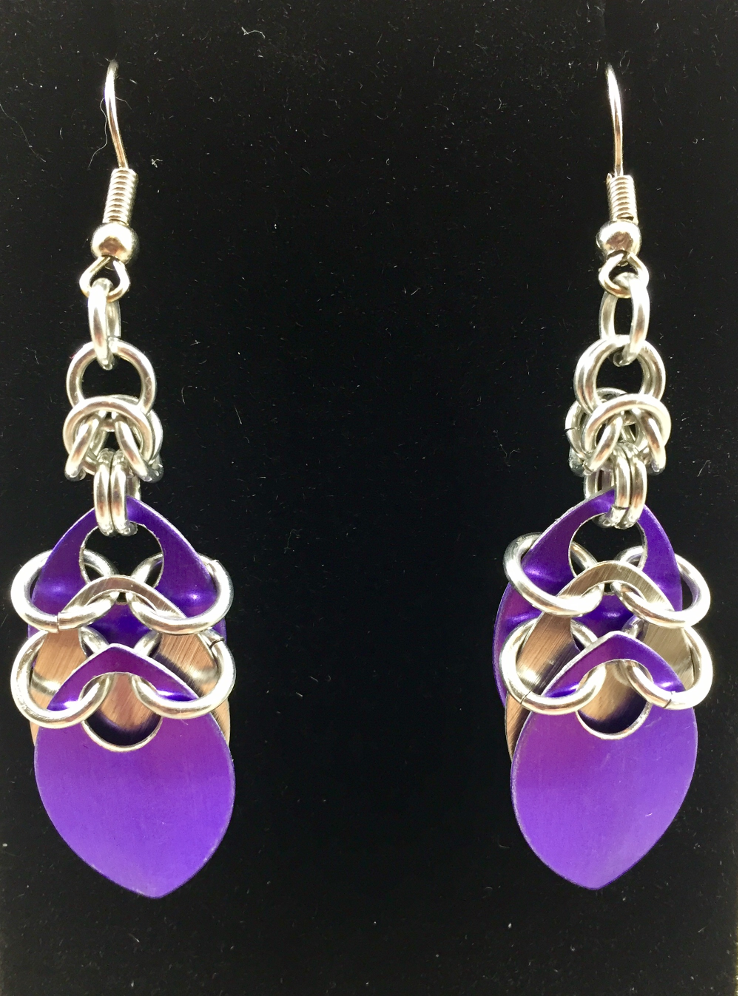 Anodized purple and silver scale drop earrings