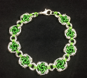 Shamrock green and bright aluminum bracelet